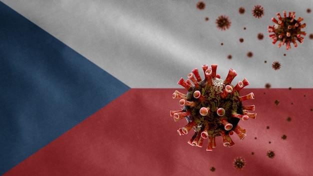 3d, tsjechische vlag zwaait met uitbraak van coronavirus die het ademhalingssysteem infecteert als gevaarlijke griep. influenza-type covid 19-virus met nationaal sjabloon uit tsjechië dat op de achtergrond blaast