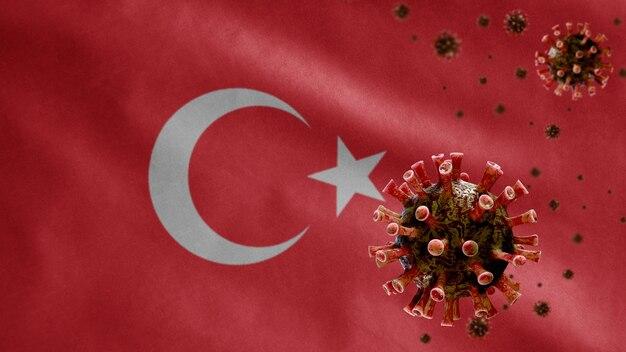 3d, turkse vlag zwaaien en coronavirus 2019 ncov-concept. aziatische uitbraak in turkije, coronavirussen influenza als gevaarlijke gevallen van griepstammen als pandemie. microscoopvirus covid 19