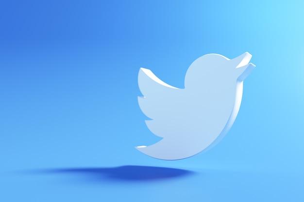 3d twitter-logo, applicatie voor sociale media. 3d-weergave