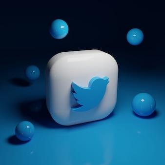3d twitter logo applicatie