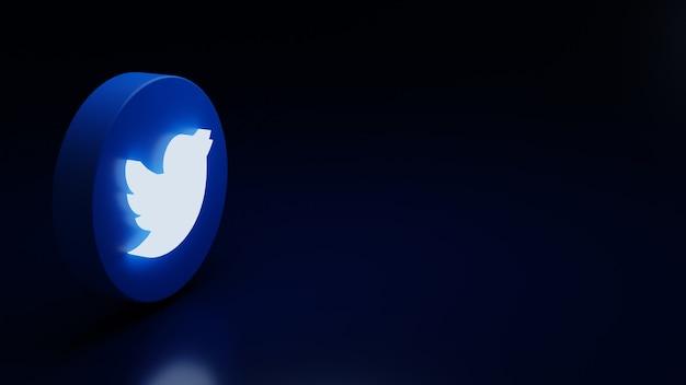 3d twitter logo icoon hoge kwaliteit render