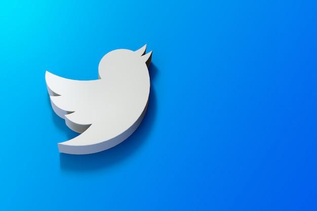 3d twitter-logo minimalistisch met lege ruimte