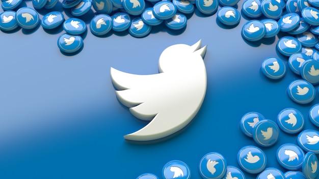 3d twitter-logo op een blauwe achtergrond, omringd door veel twitter glanzende pillen