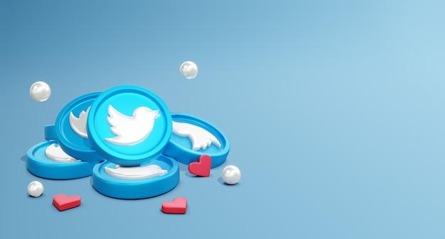 3d twitter social media-logo's met muntmodel en lov-pictogram