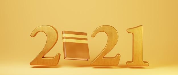 3d van 2021 en boek op oranje oppervlak
