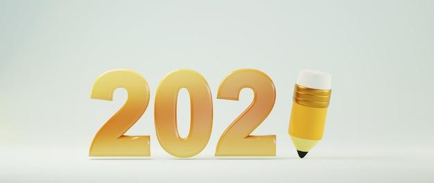 3d van 2021 en potlood op wit oppervlak