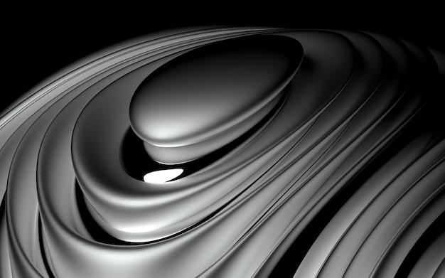 3d van abstracte achtergrond met een deel van de bol in organische gebogen gladde zachte en ronde bio vormen in mat en glanzend aluminium