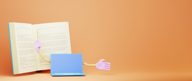 3d van boek en laptop met handen