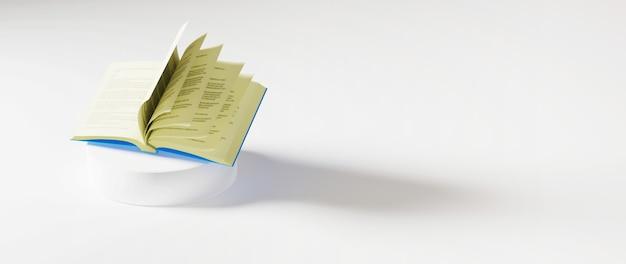 3d van boek op wit oppervlak