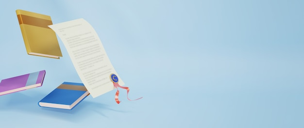 3d van boeken en diploma op blauwe oppervlakte