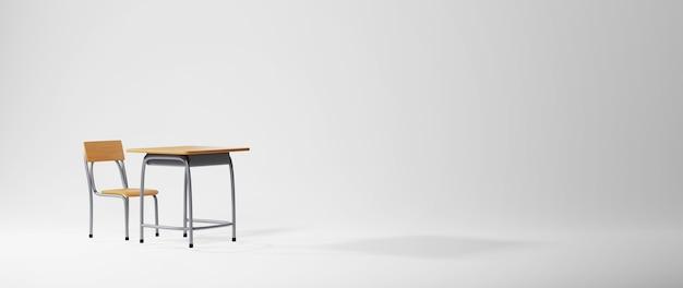 3d van bureau en stoel op wit oppervlak