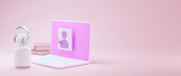 3d van computer die online leert