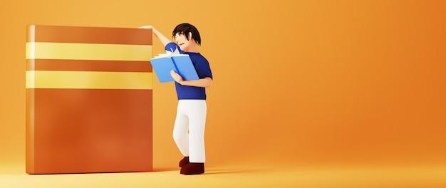 3d van een mens die een boek over oranje oppervlakte leest
