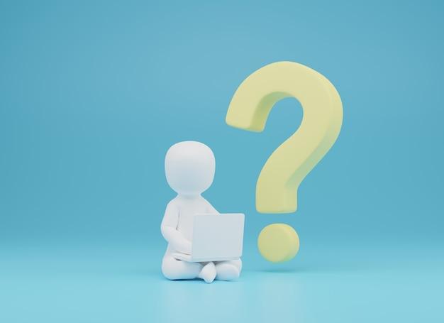3d van persoon vragen door laptop.question en antwoord 3d illustratie. 3d-rendering
