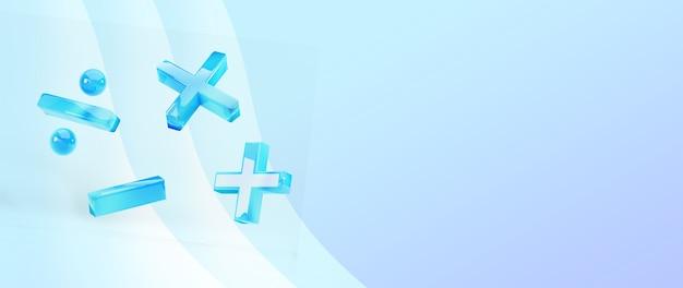 3d van wiskundige tekens op blauw oppervlak