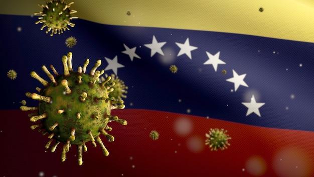 3d, venezolaanse vlag die zwaait met een uitbraak van coronavirus die de luchtwegen infecteert als gevaarlijke griep. influenza type covid 19-virus met nationale banner van venezuela die op de achtergrond waait