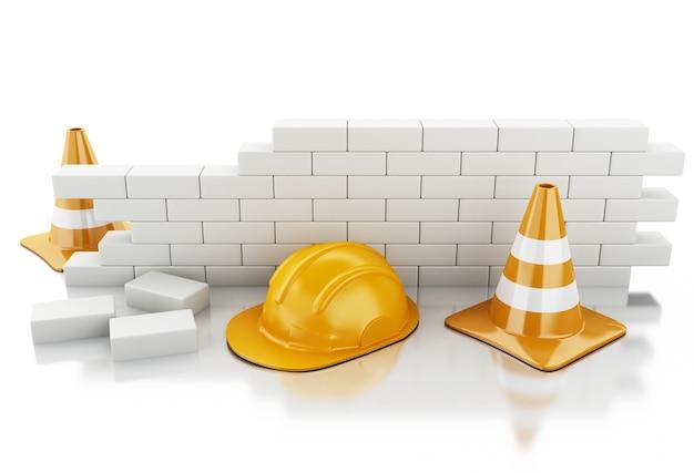 3d verkeerskegels, helm en bakstenen muur.