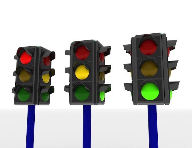 3d verkeerslichten geïsoleerd op witte achtergrond