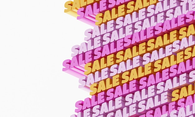 3d verkoop achtergrond. abstracte typografische 3d-belettering achtergrond met witte plek voor tekst. modern helder trendy woordpatroon in geel, roze en oranje. eigentijdse omslag, achtergrond en flyers