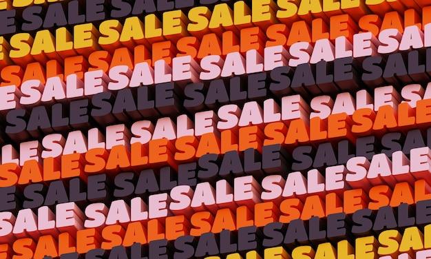 3d verkoop achtergrond. abstracte typografische 3d-belettering achtergrond. modern helder trendy woordpatroon in gele, rode en grafietkleuren. eigentijdse omslag, achtergrond en flyers