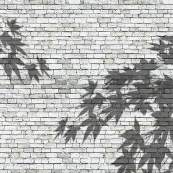 3d verlaat schaduwen op een bakstenen muurtextuur