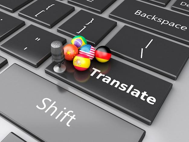3d vertaal vreemde talen op computertoetsenbord