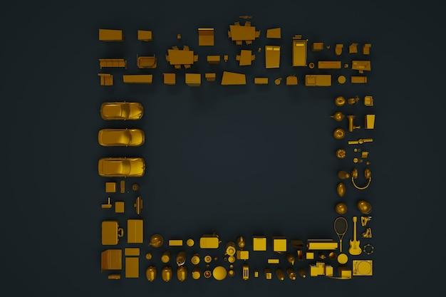 3d-verzameling apparaten, huishoudelijke apparaten en meubels. gouden beeldjes. 3d-modellen, figuren, meubels. isometrische dingen. bovenaanzicht, donkere achtergrond