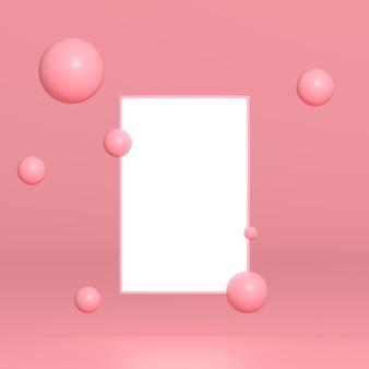 3d vierkant frame met roze vliegende bollen