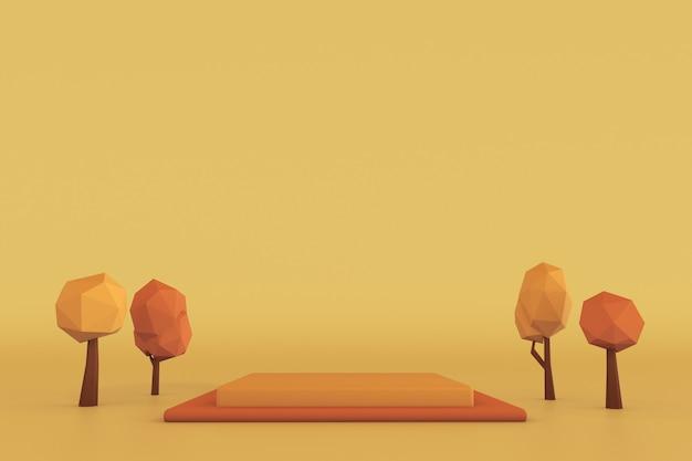 3d vierkant podium met herfstbomen voetstuk voor huidverzorgingsproduct op gele en oranje achtergrond