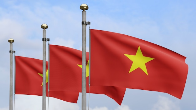 3d, vietnamese vlag zwaaien op wind met blauwe lucht en wolken. close up van vietnam banner waait, zacht en glad zijde. doek stof textuur vlag achtergrond.