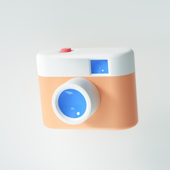 3d vintage camera op isoleren witte achtergrond. fotografie concept van een camera-symbool. 3d render illustratie