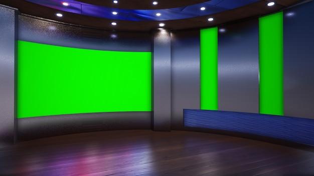3d virtual tv studio news met groen scherm, 3d illustratie