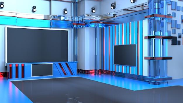 3d virtuele nieuws studio achtergrond, 3d illustratie