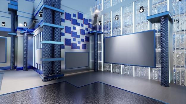 3d virtuele nieuwsstudio achtergrond