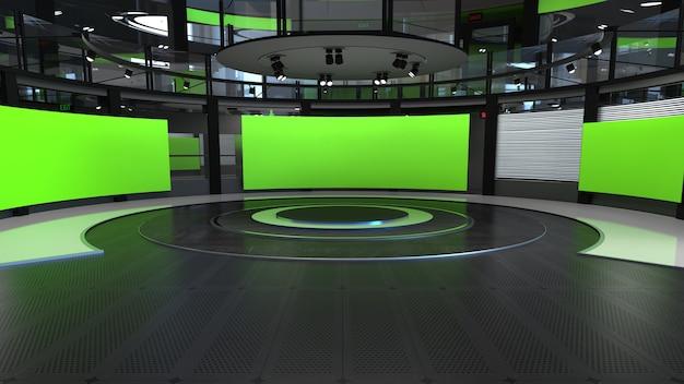 3d virtuele tv-studio nieuwsachtergrond voor tv-shows tv op wall3d virtuele nieuwsstudio-achtergrond