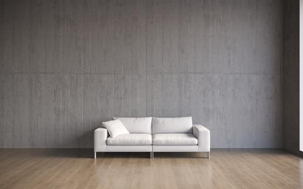 3d-visualisatie van een groot ruim modern interieur met een betonnen muur en een comfortabele bank met