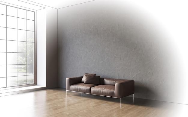 3d-visualisatie van een groot ruim modern interieur met een betonnen muur en een comfortabele bank Premium Foto