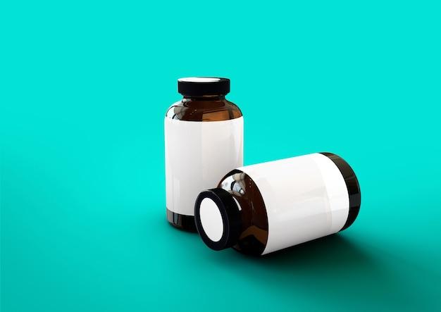 3d-vitamines fles geïsoleerd op blauwe toscha