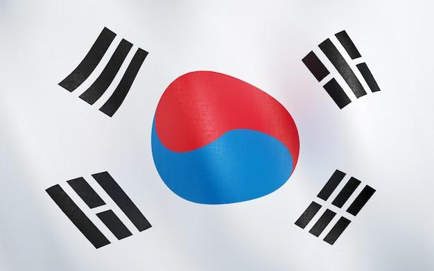 3d vlag van zuid-korea.