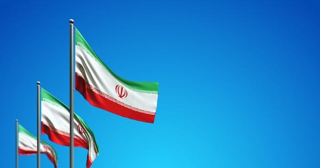 3d vlaggenmast die iran in de blauwe lucht vliegt