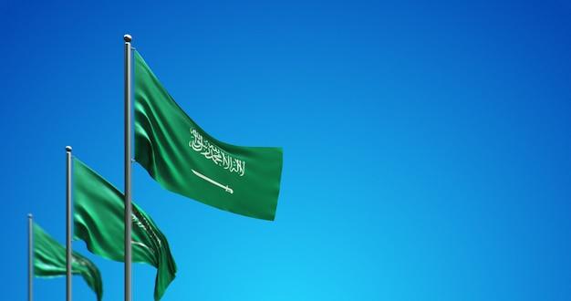 3d vlaggenmast die saoedi-arabië in de blauwe lucht vliegt
