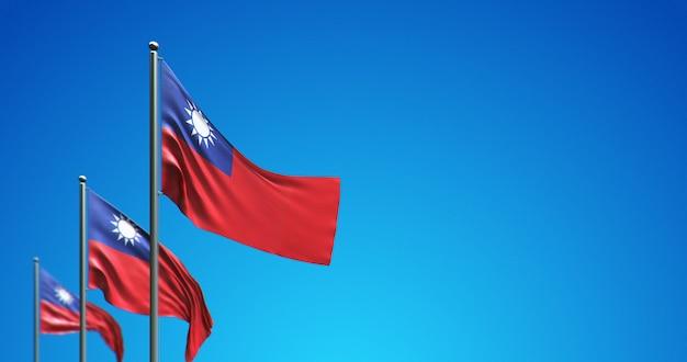 3d vlaggenmast die taiwan in de blauwe lucht vliegt
