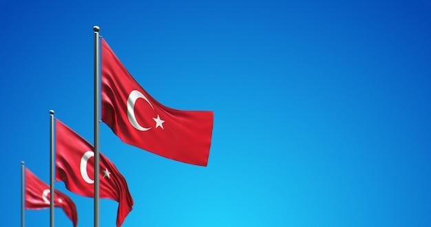 3d vlaggenmast die turkije in de blauwe lucht vliegt