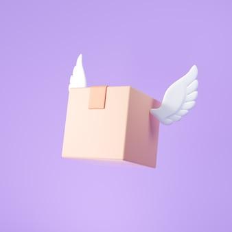 3d-vliegende doos met vleugels, verzend- en leveringsconcept voor bedrijfspakketten. 3d render illustratie