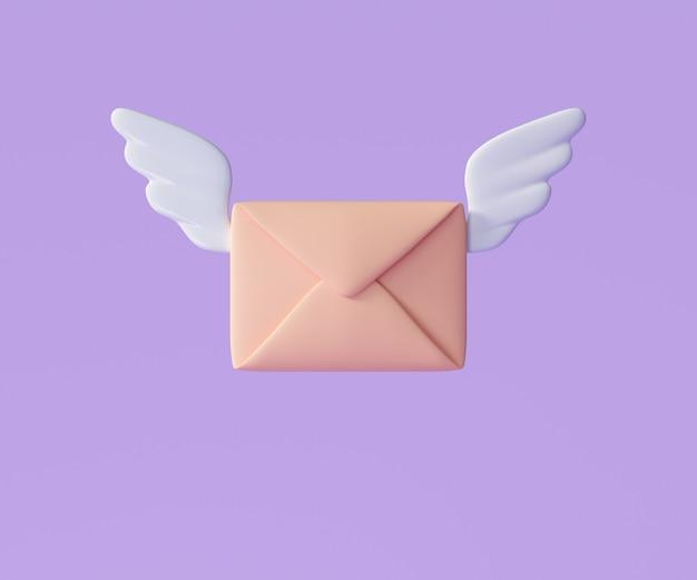 3d vliegende envelopvleugels, inkomende e-mail op de hoogte, nieuwsbrief en online e-mailconcept. 3d render illustratie