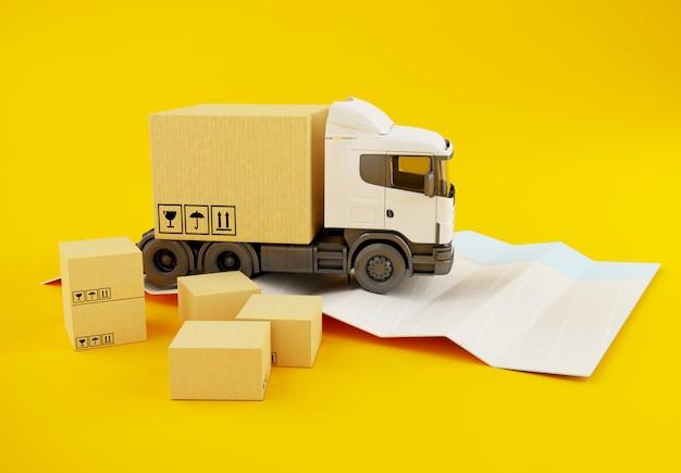 3d vrachtwagen met kartondozen op document stadskaart.