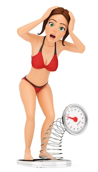 3d vrouw in bikini die weegt op een schaal. te zwaar