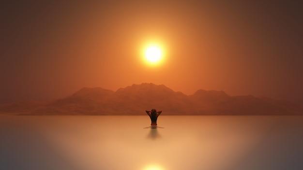 3d-vrouw in de zee bij zonsondergang