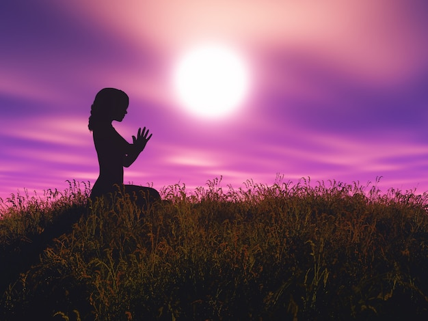 3d vrouw in yoga stelt tegen zonsonderganglandschap