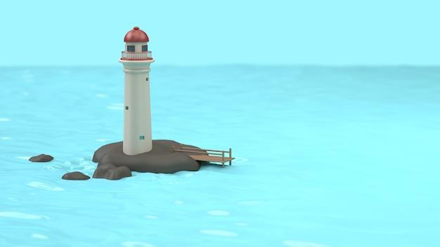 3d vuurtoren-toren van de beeldverhaalstijl op rotseiland van blauwe wateroverzees